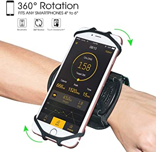 """Wristband Phone Holder,HC 360°Rotatable Universal Sports Wristband for iPhone X/8 Plus/8/7/6s,Galaxy S9 Plus/S9/S8 & Other 4""""-6.5""""Smartphone,Running Armband for Hiking Biking Walking (Wrist)"""