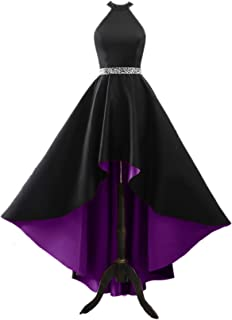 Changuan Halter High Low Evening Party Dress Long Satin Homecoming Prom Formal Gowns with Pockets