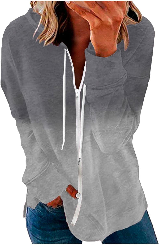 felwors Hoodies for Women, Womens Zip Up Striped Hoodie Jacket Color Block Print Long Sleeve Casual Pullover Sweatshirts