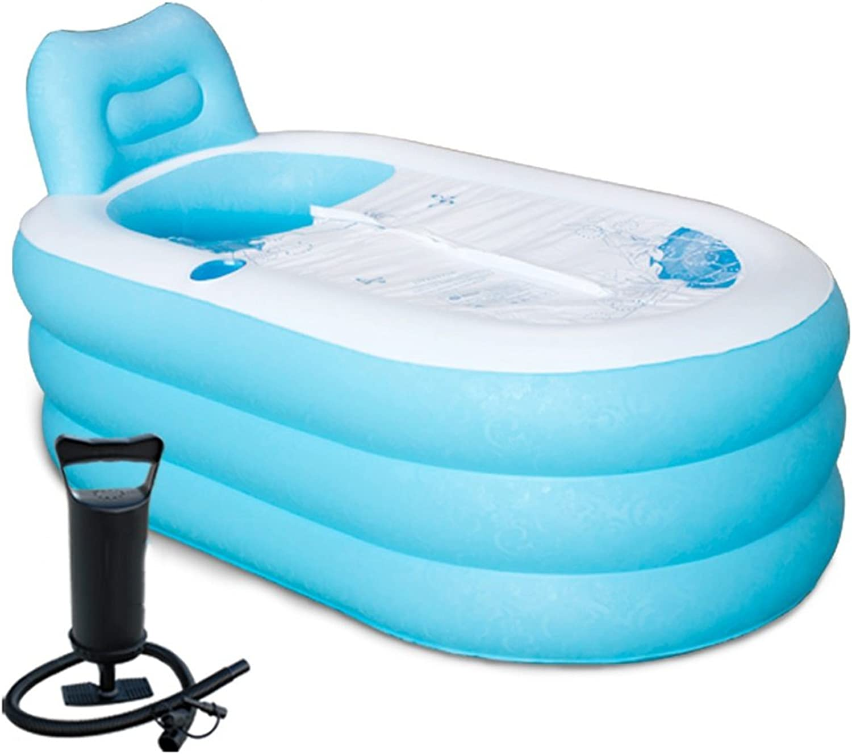 Inflatable bathtub GJ- Large Thicker Adult Bathtub Folding Bath Tub Plastic Bath Barrel (color   bluee)