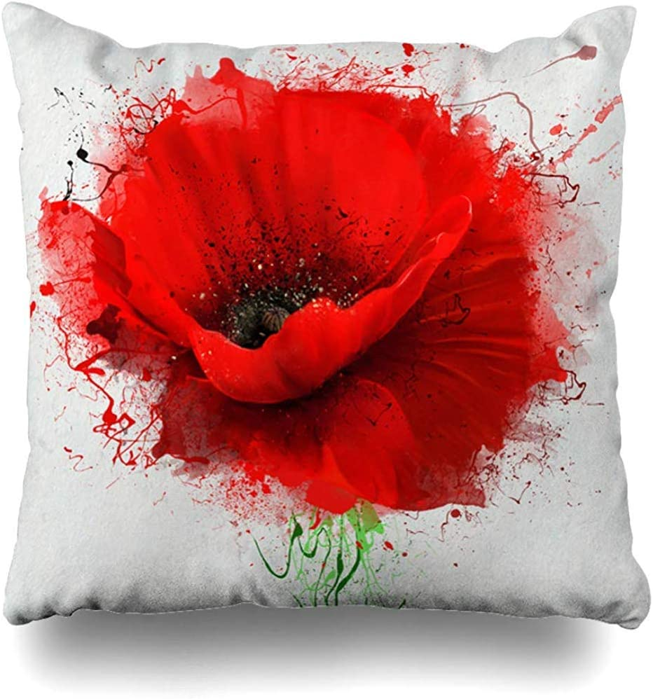 Throw Surprise price Pillow Cover Red Poppy Closeup Paint Popular brand in the world White Sketch Spray On