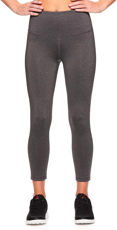 Reebok Women's Capri Workout Leggings w HighRise Waist  Cropped Performance Compression Tights