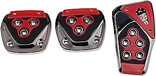 Amazinea Red Black Chrome Anti-Slip Manual Brake Gas Clutch Racing Pedal Pad Covers Kit for Honda Toyota Nissan Mazda Subaru