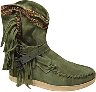 Tooling Knight Ankle Short Boots for Women Non Slippery Women's Lace-Up Vintage Green Elegant Almond Shaped Toe with Ties in Roman Style, FULLSUNNY
