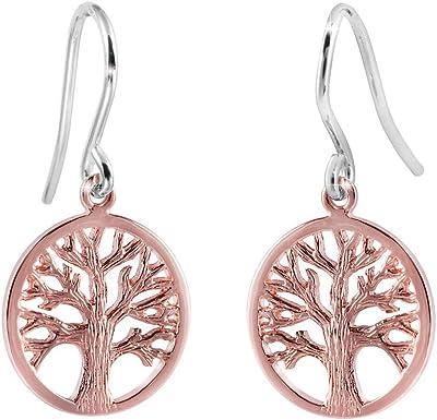 Materia Boucles d'oreilles en or rose En forme d'arbre de vie celtique En argent Sterling 925 plaqué or Bicolore Avec boîte #SO-209
