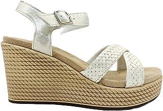 Sandali donna IGIeCO 7169311 scarpe con zeppa alta comoda plateau pelle bianchi