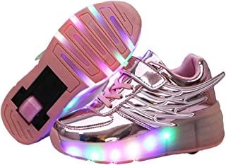 Ehauuo Unisex Light Up Roller Shoes LED Skates Shoes Retractable Single Wheel Shoes Roller Sneakers for Kids Girls Boys Gift
