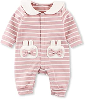 Baby Nest ベビー服 前開き 長袖カバーオール ロンパース 女の子 コットン100% ピンク 3-6M