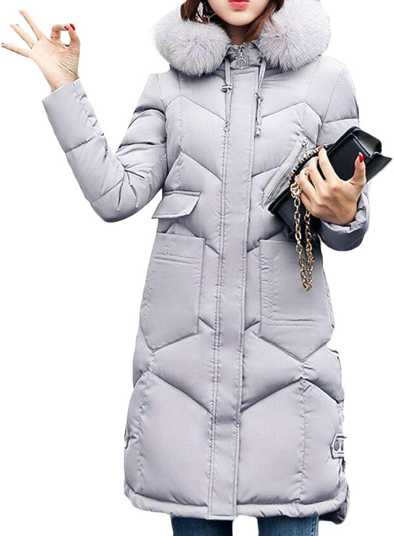 Spirio Women Quilted Slim ZipUp Faux Fur Hood Slim Fit Down Coat Parka Jacket