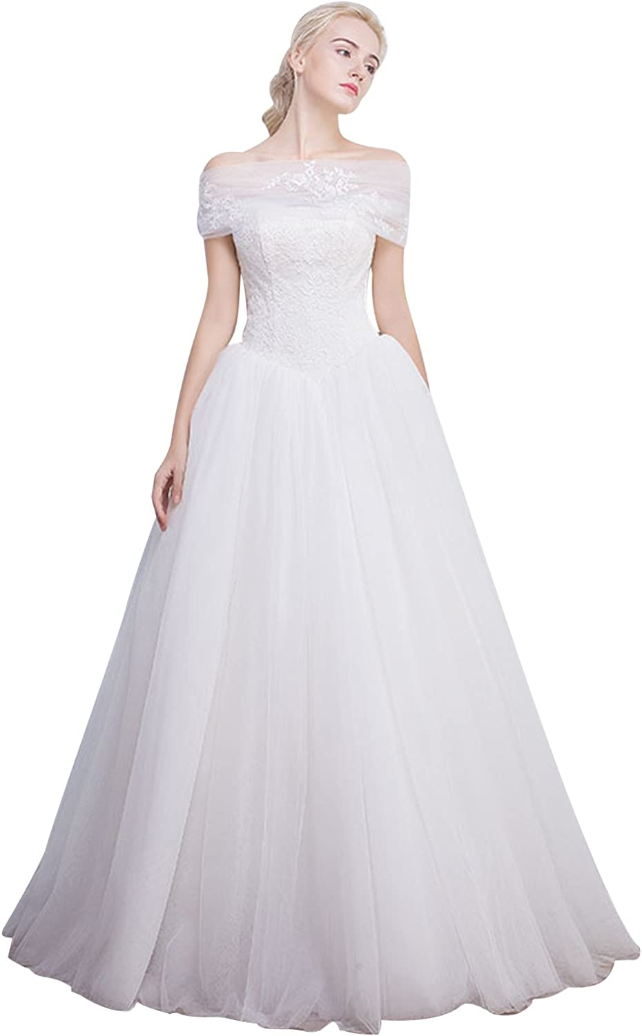 Fanciest Women's Tulle Ball Gown Wedding Dresses Lace Bridal Gowns White