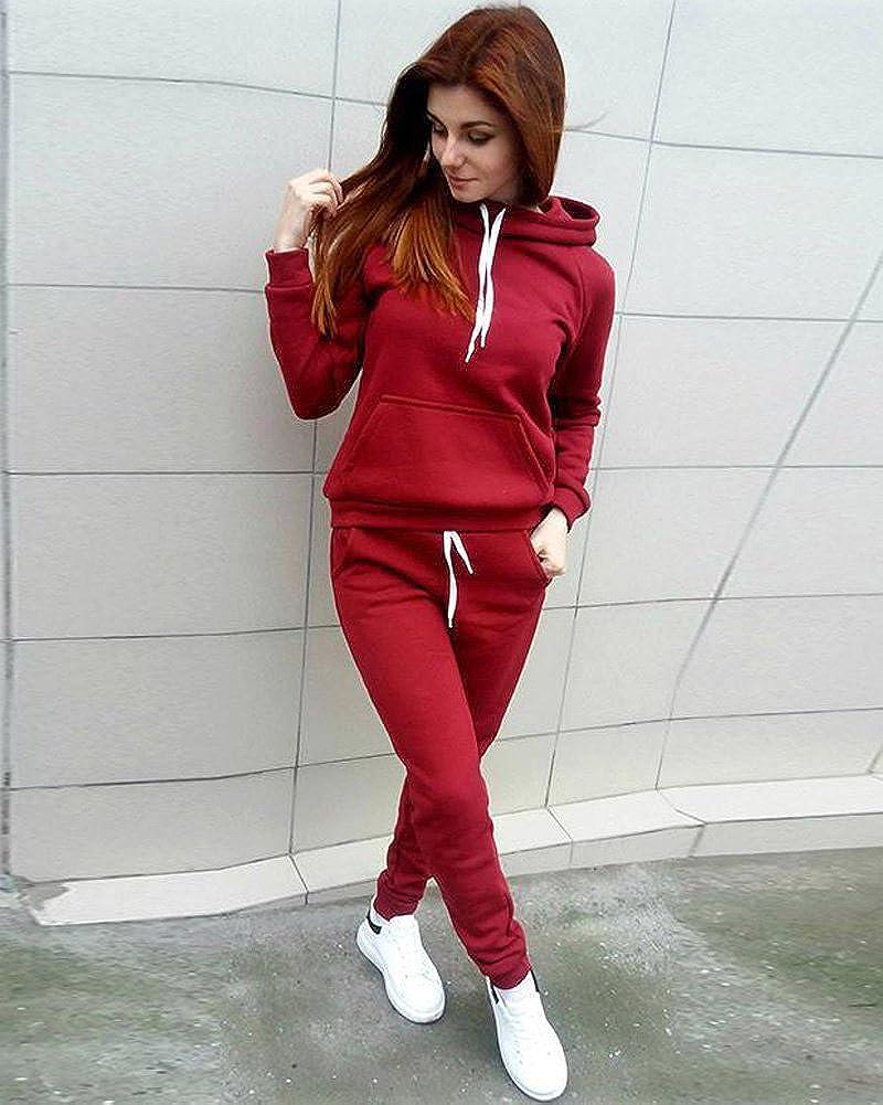 ShallGood Damen Hoodie Jogging Anzug Trainingsanzug Pullover Fitness Lange Stretch Kapuzenpullis Sweatshirt Und Lang Chino Haremshosen 2 Stück Outfit Rot