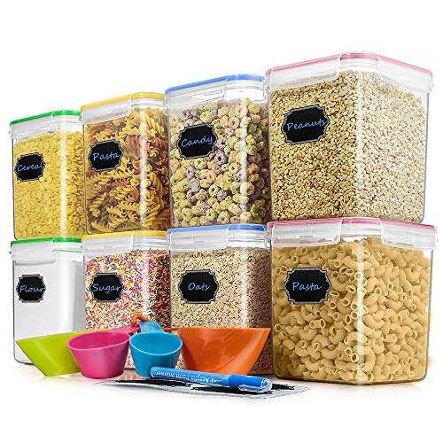 Cereal Container Food Storage Containers Blingco Set of 8 25L/85oz Airtight Dry Food Storage Containers with Lids  BPA Free Plastic for Flour Sugar Cereal and Pantry Storage Containers
