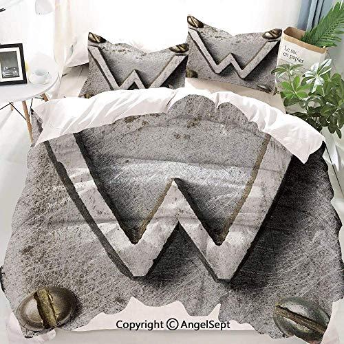 Juego de funda nórdica de decoración de letra W, tornillos de perno en W mayúscula Kitsch industrial Iniciales de persona simbólica ingeniosa, juego de cama decorativo de 3 piezas con 2 fundas de almo