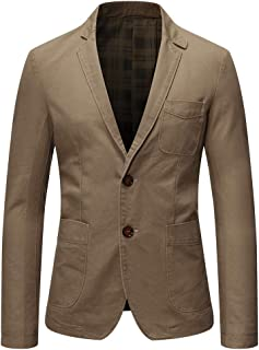 Allthemen Mens Casual Blazer Slim Fit Long Sleeve Suit Jacket Washed Cotton 2-Button Casual Suits Blazer Jackets