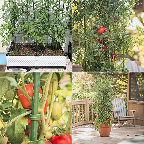 flowlamp Tomato Cages Supports Deformable,4 Pack Plant Support Assembled Tomato Stakes,Multi-Functional Tomato Trellis Assembled Garden Stakes Climbing Plant Support with 12 Pcs Clips
