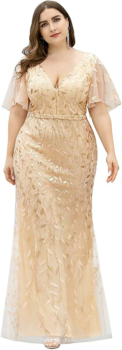 Ever-Pretty Women's V-Neck Sparkly Embroidery Plus Size Mermaid Evening Dress 0692-PZ