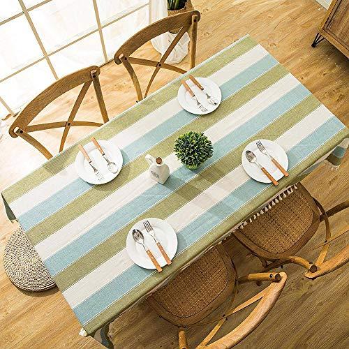WarmHome Faux Lino Tovaglia,Impermeabile Senza Scolorimento Tablecloth Banda Pizzo Geometrico Table Cloth(Rettangolare 55×78 Anni Pollici)-Blu-Verde 90 * 90cm