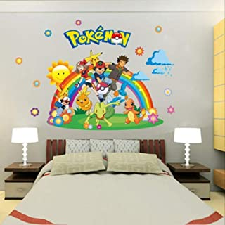 Muursticker, Pokemon Go for Kids Rooms Home Decoraties Pikachu Muursticker Amination Poster Wall Art Wallpaper Kids, Stick...