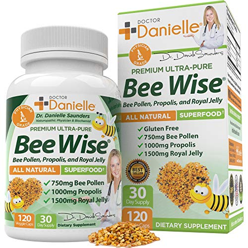 Dr. Danielle's Bee Wise - Bee Pollen Supplement - Bee Well with Royal Jelly, Propolis, Beepollen in...