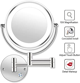 Makeup Mirror, Wall Mounted Shaving Mirror 10X Magnification Double Sided Folding LED Bathroom Mirror Retractable 360°Swivel Illuminated Makeup Mirror, Concealed Install, 8.5 Inches