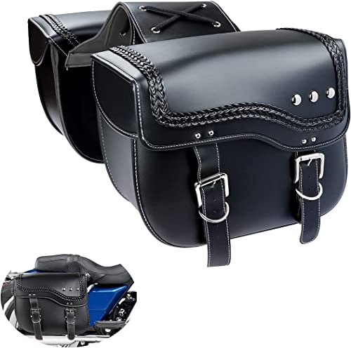 Motorcycle Saddlebags , Black Soft PU Leather Side Saddle Bag for softail sportster dyna v-star shadow vulcan.