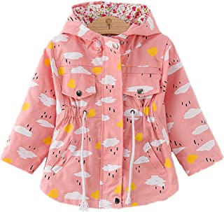 WINZIK Little Baby Girls Kids Outfits Spring Autumn Polka Dot Pattern Hooded Windbreaker Jacket Casual Outerwear Coat