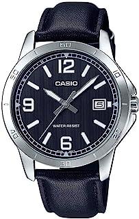 ساعة جلد دائرية انالوج بعقارب ومينا اسود مقلمة بإطار تاكيميتر للرجال من كاسيو MTP-V004L-1BUDF - اسود