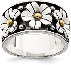 925 Sterling Silver 14k Gold Centers Daisy Band Ring Flowers/leaf Fine Jewelry For Women Gift Set