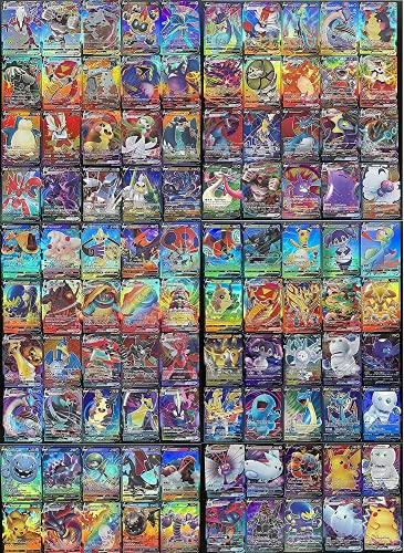 Flyglobal Pokemon Karten GX Sammelkarten, Pokemonkarten 100 Stück Set mit 60V Pokemon-Karten und 40VMAX Pokemon Cards Kinder Pokemon Kartenspiele