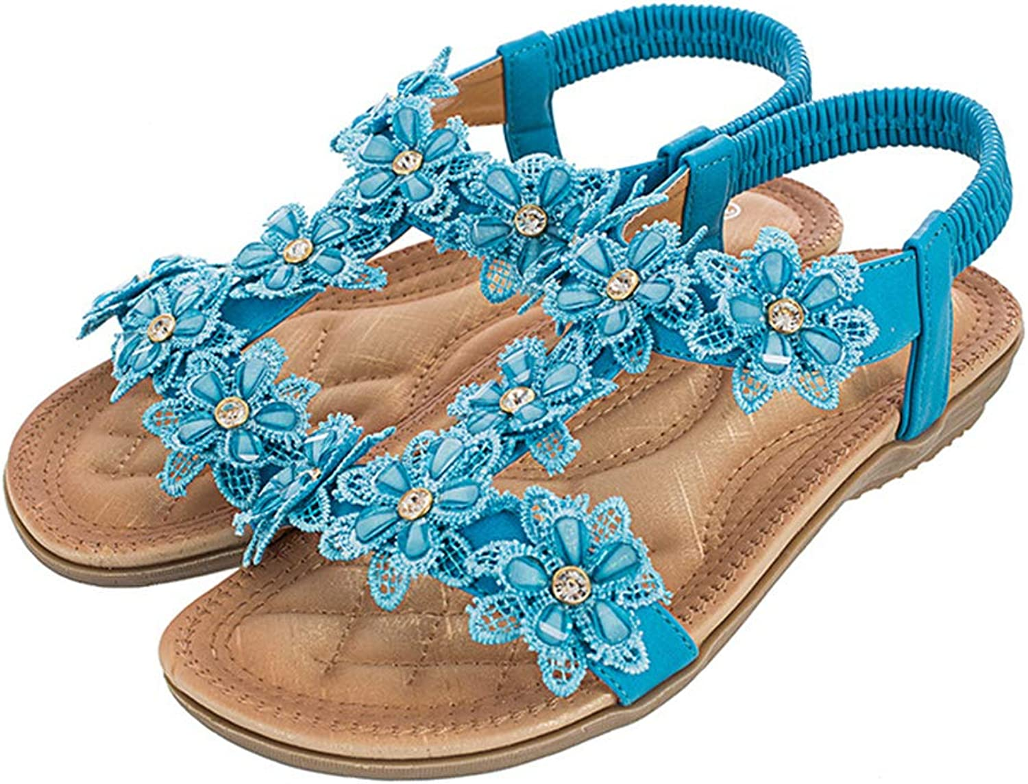 Navoku Women's Fashion Casual Flowers Sandals Flat Sandles