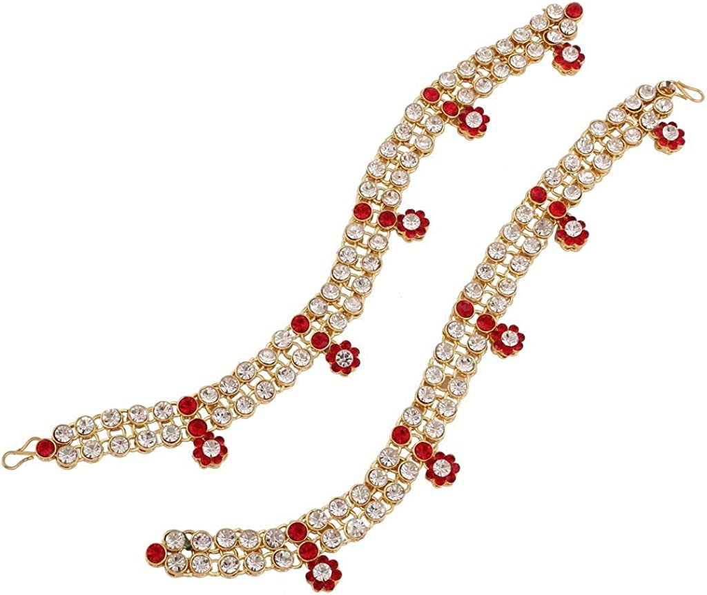 I Jewels Cheap mail order shopping Gold Plated Elegantly Stone Free shipping Studded Anklets Handcrafted