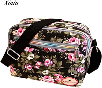 203719c742 Fashion Women Cosmetic Bag Flower Printing Canvas Crossbody Shoulder  Messenger Female Makeup Zipper Storage Packet