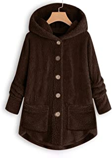 Women Plus Size Button Plush Tops Hooded Loose Cardigan Wool Coat Winter Jacket