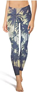 ZTUO Women's Yoga Pants Palm Trees Wallpaper Tumblr Printed High Waist Running Tights with Pocket