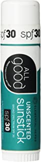 All Good Organic Sunstick - Zinc Oxide Sunscreen for Face, Nose, Ears - Coral Reed Safe - Water Resistant - SPF 30 (.6oz)(Unscented)