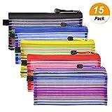 Meetory 15 Stück Dokumententasche A6 Kunststoff Reißverschlusstasche Set wasserdicht Mesh Bags Dokumententasche zip mit Reissverschluss für Büros Schulreise Zubehör (5 Farben)