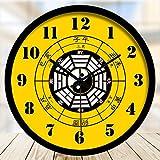 QADJPR Modern Quartz Lautlos Wanduhr große Wanduhr Home Office Decor Geschenk Digitale Wanduhr Traditionelle chinesische Wanduhr Silent Clock, 16 Zoll, Meridian Tai Chi schwarz Metallrahmen