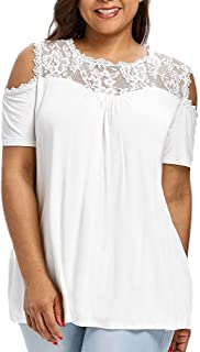 Sunmoot Clearance Sale Lace Patchwork T-Shirt for Womens Plus Size Blouse Sexy V Neck Cold Shoulder Short Sleeve Tops
