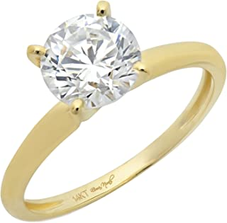 2.0 CT Brilliant Round Cut Simulated Diamond CZ Designer 4-Prong Solitaire Anniversary Promise Bridal Wedding Ring Solid 14k Yellow Gold