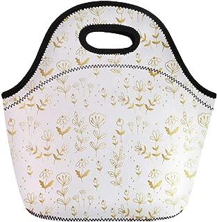 Semtomn Lunch Bags Drawing Carpet Fancy Golden Pattern Floral Classic Drawn Elegant Neoprene Lunch Bag Lunchbox Tote Bag Portable Picnic Bag Cooler Bag