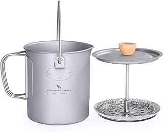 Boundless Voyage Camping Titanium Coffee Cup Outdoor French Press Pot Camp Cooking Pot Travel Mug Capacity 750ml Max Ti1581Au