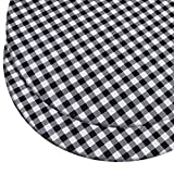 Ruisita 2 Pack Round Vinyl Table Cover Elastic Edge Flannel Backed Table Cover Black and White Checkered Tablecloth, 44-55 Inches in Diameter