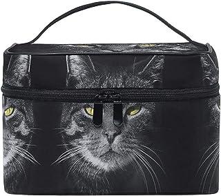 Bolsa de cosméticos Bolsa de maquillaje Cool Angry Black Cat para mujeres Bolsa de cosméticos Funda de tren de aseo