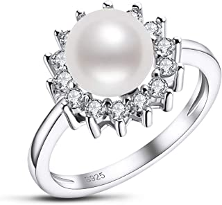 Freshwater Cultured Pearl Ring 8mm Round White Pearl Ring with Cubic Zirconia Simulated Diamonds in Sterling Silver Jewelr...