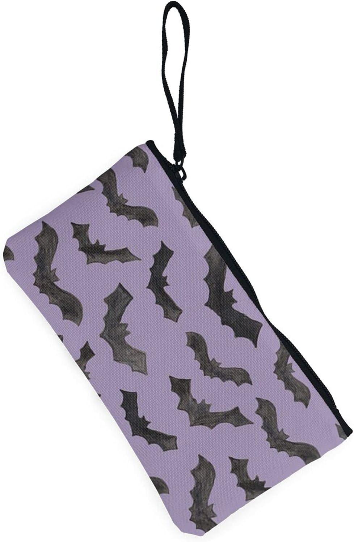 AORRUAM Cute Bat Canvas Coin Purse,Canvas Zipper Pencil Cases,Canvas Change Purse Pouch Mini Wallet Coin Bag