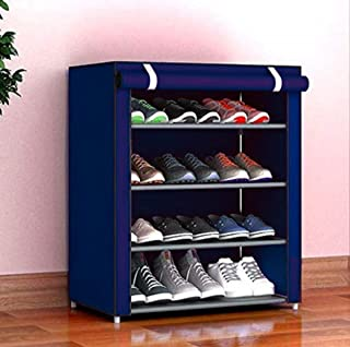PYXBE Multipurpose Portable Folding Shoes Rack 4 Tiers Multi-Purpose Shoe Storage Organizer Cabinet Tower with Iron and No...