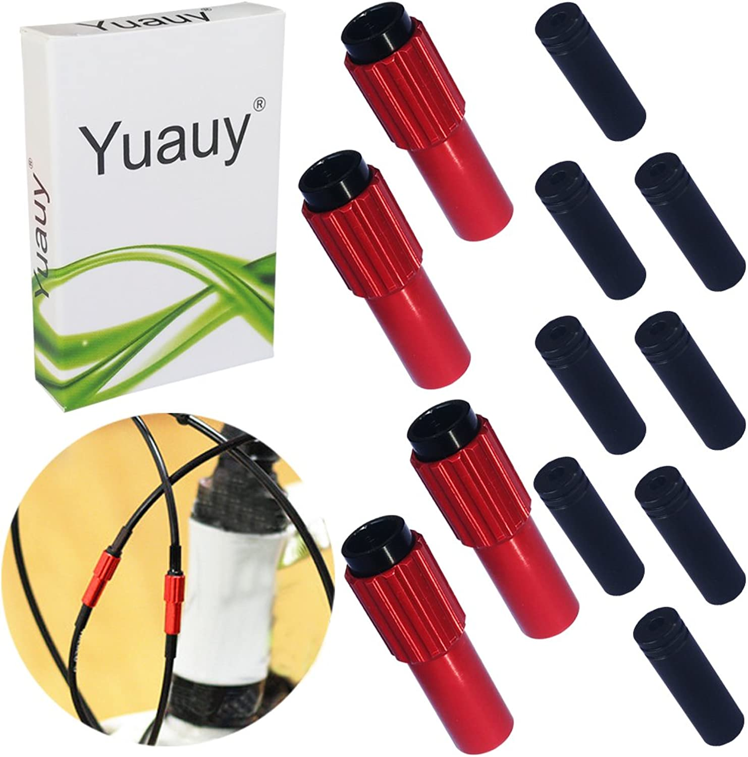 Yuauy 4 PCs Red Mini Inline Bicycle Cable Adjusters w End Caps
