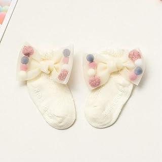 Calcetines Antideslizantes De Verano para Recién Nacidos Dispensan Algodón con Lazo Completo Calcetines Finos De Malla para Niña Recién Nacidos Lazo De Encaje Grande Perla