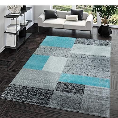 Kurzflor Teppich Preiswert Pflegeleicht Vintage Karo Muster Weiß Grau Türkis, Größe:160x220 cm