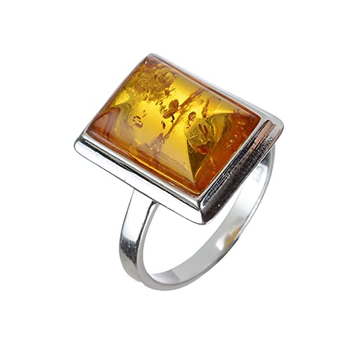 2612392d8 HolidayGiftShops Sterling Silver and Baltic Honey Rectangle Amber Ring